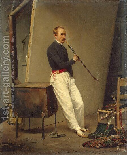 Self-Portrait with Pipe by Horace Vernet - Reproduction Oil Painting