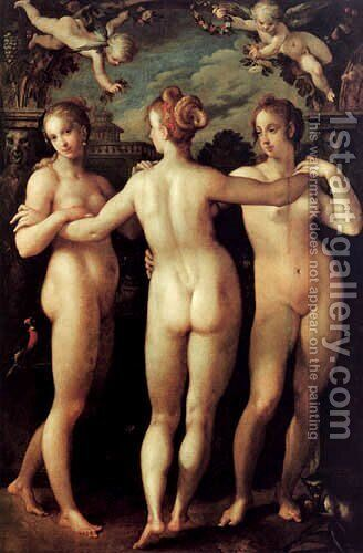 The Three Graces by Hans Von Aachen - Reproduction Oil Painting
