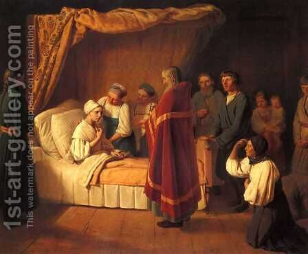 Communion of Dying by Aleksei Gavrilovich Venetsianov - Reproduction Oil Painting