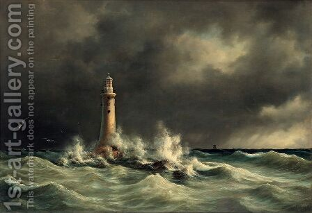 Lighthouse at Stora Balt by Anton Melbye - Reproduction Oil Painting
