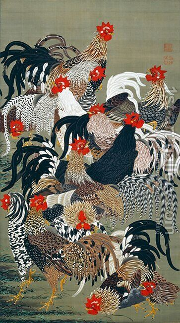Roosters by Ito Jakuchu - Reproduction Oil Painting