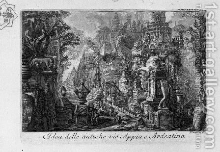Idea of the ancient Via Appia and Ardeatina by Giovanni Battista Piranesi - Reproduction Oil Painting