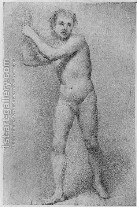Nude Study of a striding man with stone sling by Allan Ramsay - Reproduction Oil Painting