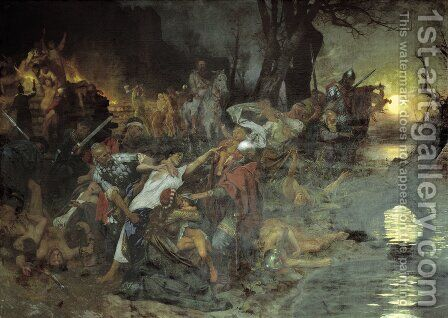 Warriors in the Battle of Silistria by Henryk Hector Siemiradzki - Reproduction Oil Painting