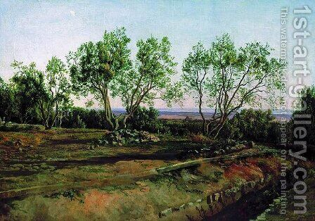 Olive trees by the cemetery in Albano. New Moon. by Alexander Ivanov - Reproduction Oil Painting