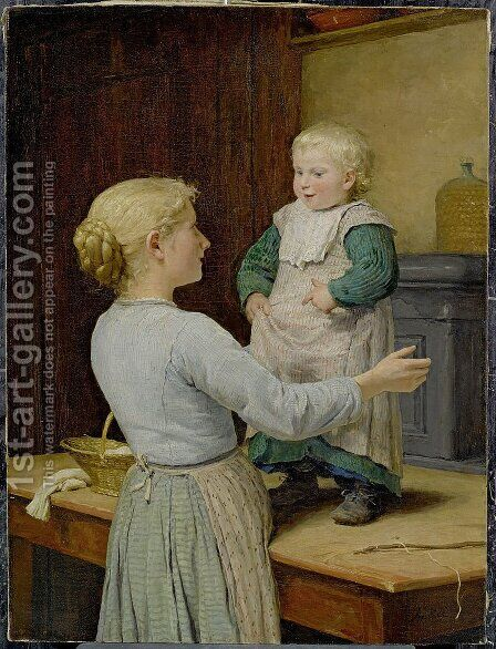 Die altere Schwester by Albert Anker - Reproduction Oil Painting