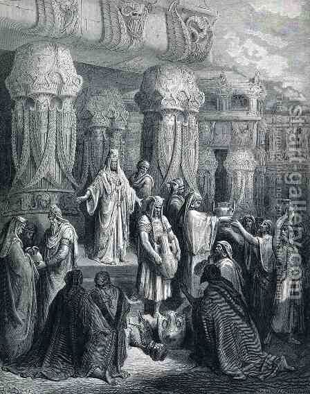 Cyrus Restores the Vessels of the Temple by Gustave Dore - Reproduction Oil Painting