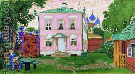 Wing with a porch by Boris Kustodiev - Reproduction Oil Painting
