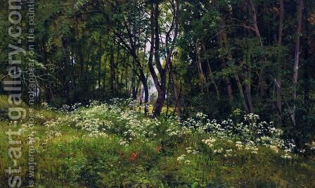 Flowers on the forest edge by Ivan Shishkin - Reproduction Oil Painting