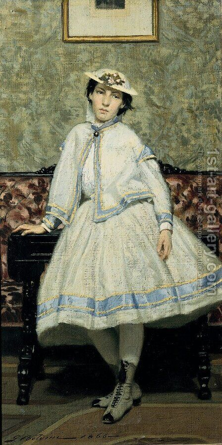 Portrait of Alaide Banti in White Dress by Giovanni Boldini - Reproduction Oil Painting