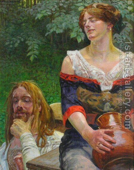 Christ and the Samaritian Woman by Jacek Malczewski - Reproduction Oil Painting