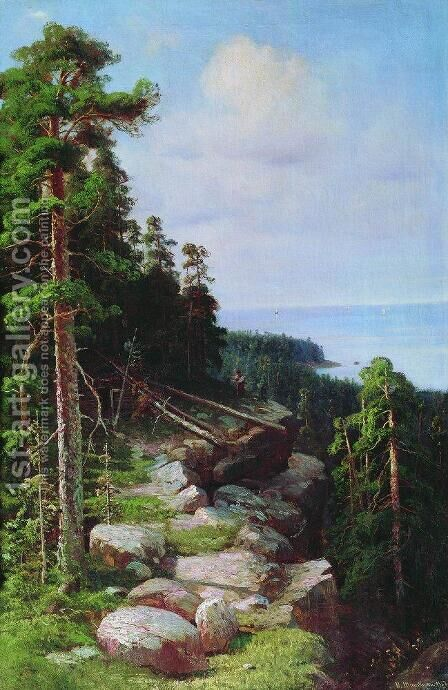 Over the embankment by Ivan Shishkin - Reproduction Oil Painting