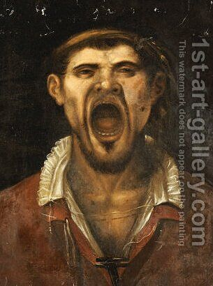 A Peasant Man, Head And Shoulders, Shouting by Agostino Carracci - Reproduction Oil Painting