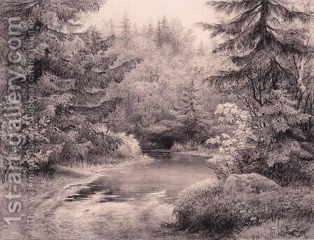 Forest Stream 10 by Ivan Shishkin - Reproduction Oil Painting