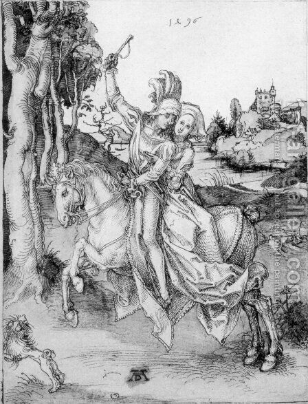 Couple on Horseback by Albrecht Durer - Reproduction Oil Painting