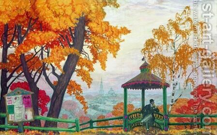 Autumn 5 by Boris Kustodiev - Reproduction Oil Painting