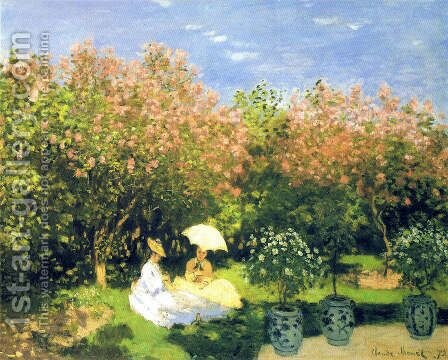 The Garden by Claude Oscar Monet - Reproduction Oil Painting