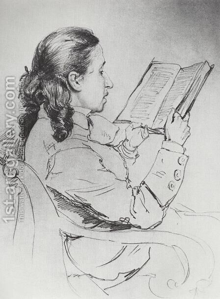 Portrait of E.G. Mamontova reading by Ilya Efimovich Efimovich Repin - Reproduction Oil Painting