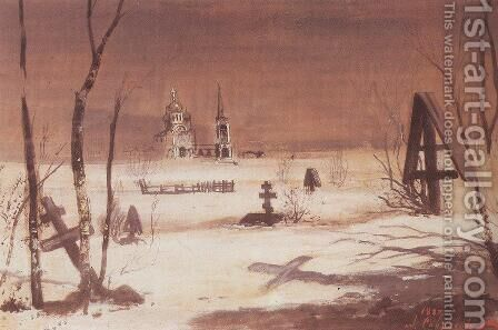 Rural cemetery in the moonlight by Alexei Kondratyevich Savrasov - Reproduction Oil Painting