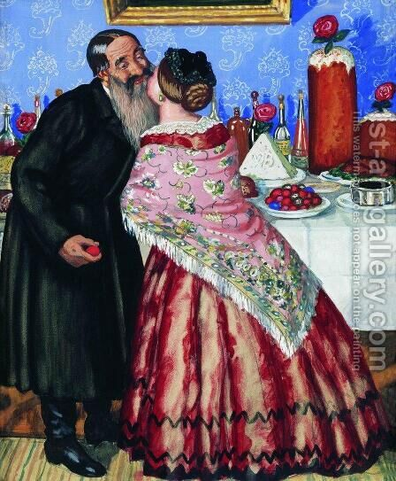 Easter Greeting by Boris Kustodiev - Reproduction Oil Painting