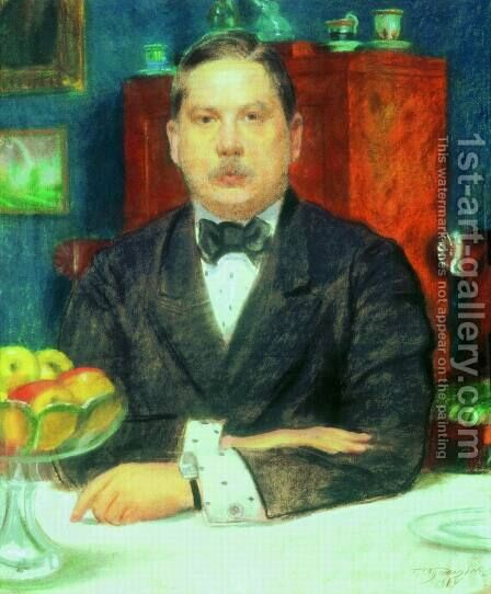 Portrait of Konstantin Somov by Boris Kustodiev - Reproduction Oil Painting