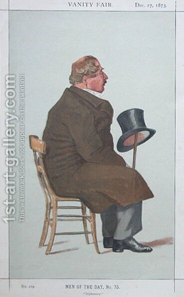 Caricature of Percy William Doyle C.B. by James Jacques Joseph Tissot - Reproduction Oil Painting
