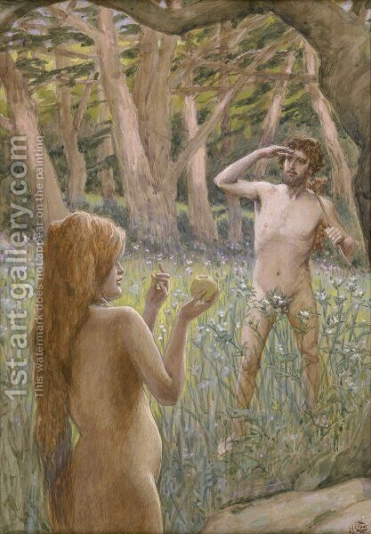 Adam Is Tempted by Eve by James Jacques Joseph Tissot - Reproduction Oil Painting