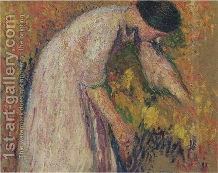Woman by the artist by Henri Martin - Reproduction Oil Painting