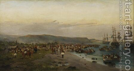Karaiskakis, Faliro by Constantinos Volanakis - Reproduction Oil Painting
