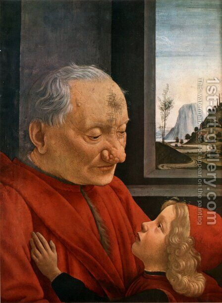 Old Man with a Young Boy by Domenico Ghirlandaio - Reproduction Oil Painting