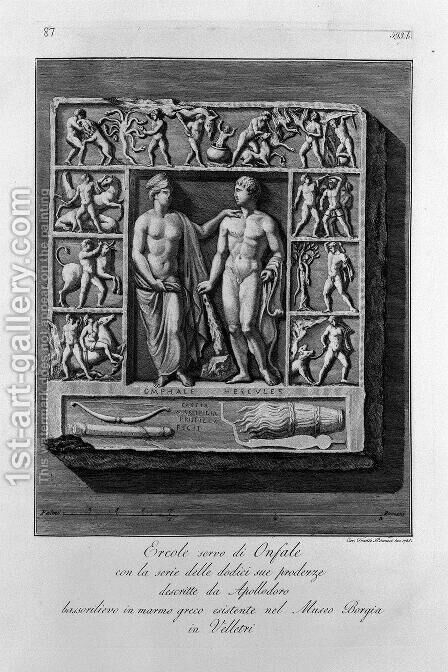 Marble bas-relief with Hercules and Omphale by Giovanni Battista Piranesi - Reproduction Oil Painting