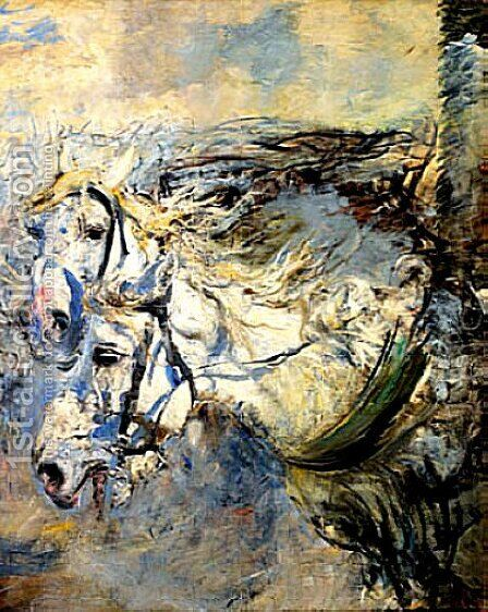 Two White Horses by Giovanni Boldini - Reproduction Oil Painting