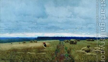 A dull  day. Stubble. by Isaak Ilyich Levitan - Reproduction Oil Painting