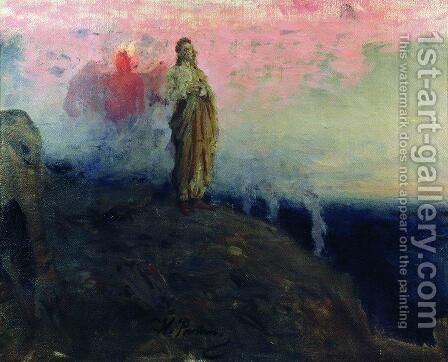 Follow me, Satan (Temptation of Jesus Christ) by Ilya Efimovich Efimovich Repin - Reproduction Oil Painting