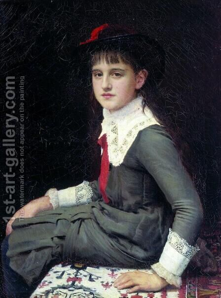 Portrait of Barbara Kirillovna Lemokh in childhood by Ivan Nikolaevich Kramskoy - Reproduction Oil Painting