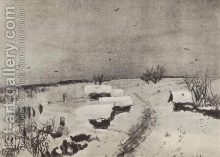 Small village under the snow by Isaak Ilyich Levitan - Reproduction Oil Painting