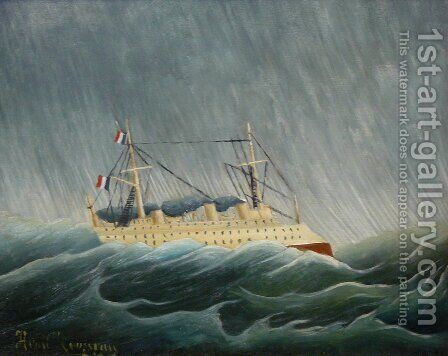 The storm tossed vessel by Henri Julien Rousseau - Reproduction Oil Painting
