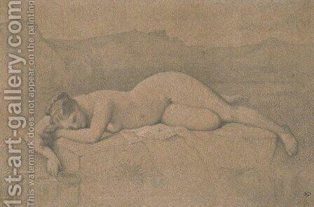 Naked woman lying on a rock by Jean Auguste Dominique Ingres - Reproduction Oil Painting