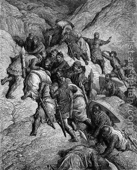 The Crusaders Crossing Mount Taurus by Gustave Dore - Reproduction Oil Painting