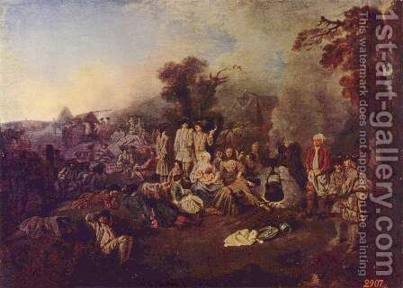 The Camp by Jean-Antoine Watteau - Reproduction Oil Painting