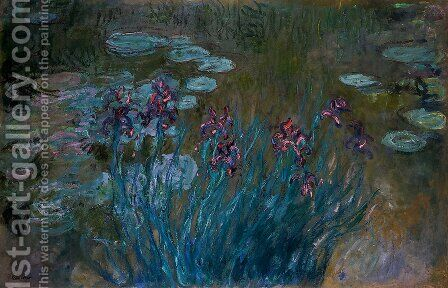 Irises and Water-Lilies by Claude Oscar Monet - Reproduction Oil Painting