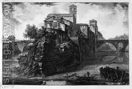 View of the Bridge Salary by Giovanni Battista Piranesi - Reproduction Oil Painting