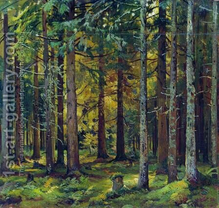 Fir forest 3 by Ivan Shishkin - Reproduction Oil Painting