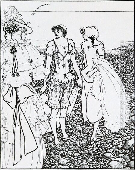 The bathers by Aubrey Vincent Beardsley - Reproduction Oil Painting