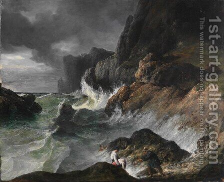 Stormy Coast Scene after a Shipwreck by Horace Vernet - Reproduction Oil Painting