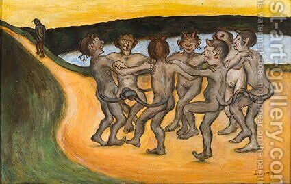 Round Dance by Hugo Simberg - Reproduction Oil Painting