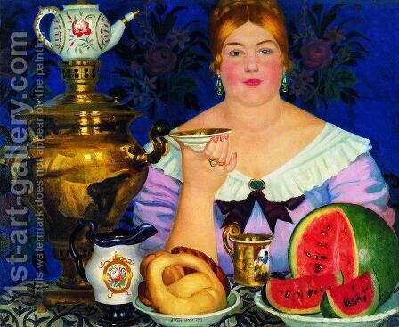 Mercahnt's Wife Drinking Tea by Boris Kustodiev - Reproduction Oil Painting