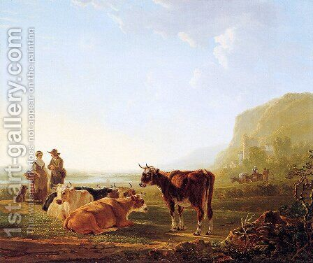 Landscape with resting cows by Jacob van Strij - Reproduction Oil Painting