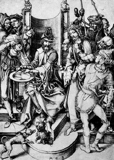 Christ before Pilate by Martin Schongauer - Reproduction Oil Painting