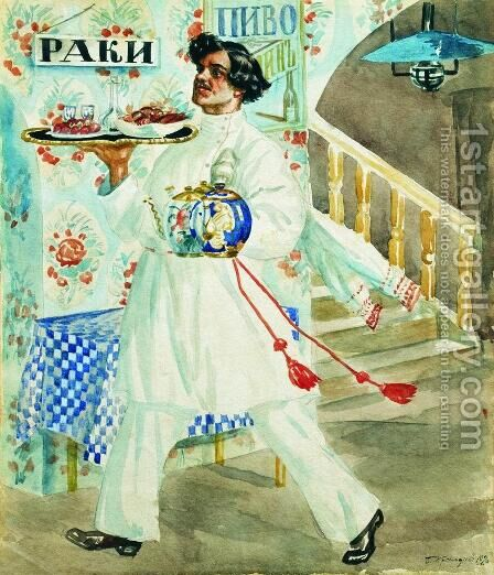 Waiter 2 by Boris Kustodiev - Reproduction Oil Painting